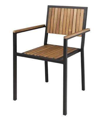 Bolero Stahl- und Akazienholzstühle mit Armlehnen - VPE 4
