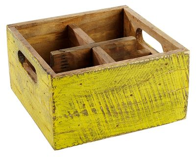 APS Table Caddy VINTAGE Yellow 17x17x10