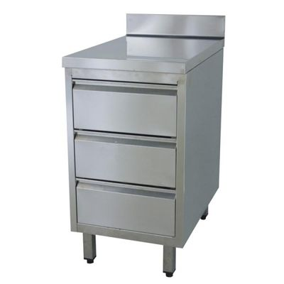 Armoire à tiroirs en inox BASIC, 3 unités 600 avec dosseret