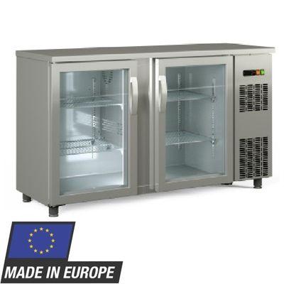Barkühltisch PROFI 2/0 - mit Glastüren - Edelstahl