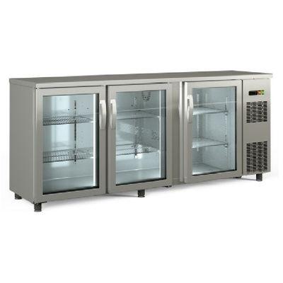 Barkühltisch PROFI 3/0 - mit Glastüren - Edelstahl