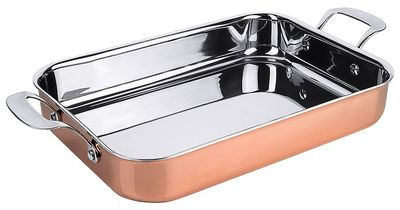 Cocotte en cuivre avec poignées rivetées en acier inoxydable L : 35 cm x La : 25 cm X hauteur : 6 cm