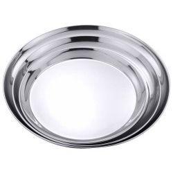 Serviertablett rund aus Edelstahl 18/0, Durchmesser: 35 cm, Höhe 2 cm