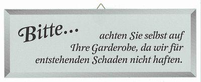 Schild GARDEROBENHAFTUNG