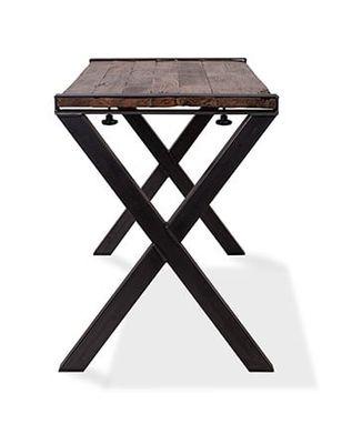Table Old Dutch avec plateau en Barnwood 2200 x 800 x 1100 mm - cadre en X
