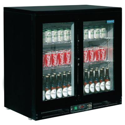 Polar Mini-Barkühlschrank mit 2 Display-Schiebetüren schwarz