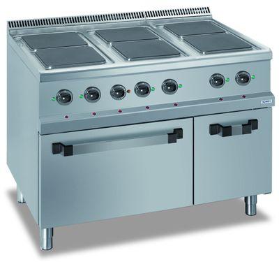 Fourneau électrique Dexion série 77 - 110/70 avec four électrique et plans de cuisson carrés