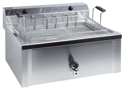Elektro-Fritteuse Profi 20 Liter mit Ablasshahn, 400 V
