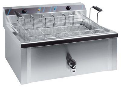 Elektro-Fritteuse Profi 37 Liter mit Ablasshahn, 400 V