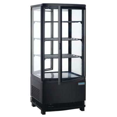 Vitrine réfrigérée POLAR 86L noire – avec 2 portes vitrées incurvées