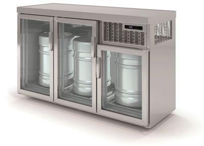Armoire réfrigérée pour fûts Premium 3 x 50 litres avec portes en verre