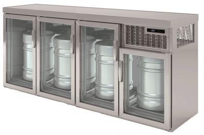 Armoire réfrigérée pour fûts Premium 4 x 50 litres avec portes en verre