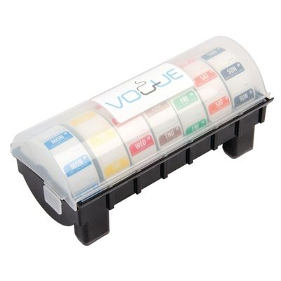 Distributeur en plastique avec un kit hebdomadaire d'étiquettes amovibles