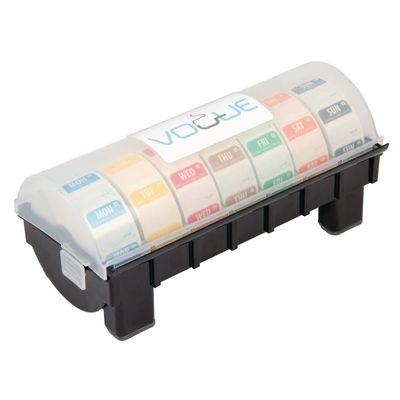 Distributeur en plastique avec un kit hebdomadaire d'étiquettes hydrosolubles