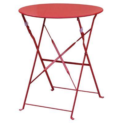 Table en acier Bolero ronde, rouge, pliable