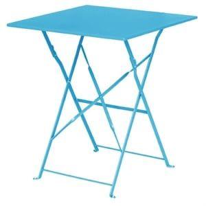 Table en acier Bolero carrée azur, pliable