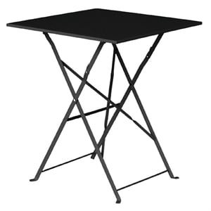Table en acier Bolero carrée noir, pliable