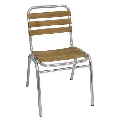 Aluminium - Eschenholzstühle Bolero stapelbar 4 Stück