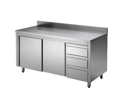 Armoire de travail adossée en inox ECO avec portes battantes et 3 tiroirs 14x7