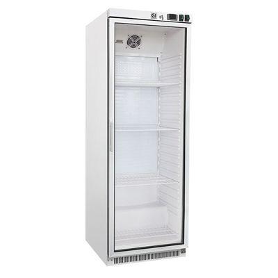 Gastro-Inox Lagerkühlschrank 400 Liter weiß mit Glastür