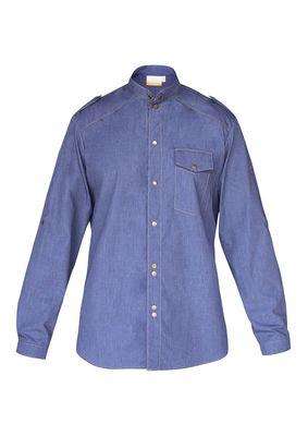 Herrenkochhemd Jeans-Style, vintage blue, Größe: 46
