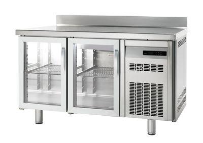 Bäckereikühltisch Premium 2/0 mit Aufkantung und Glastüren