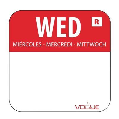 Wochentagetiketten Mi/rot entfernbar - 1.000 Stück