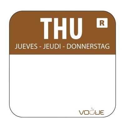 Étiquettes jeudi/marron détachable - 1.000 pièces