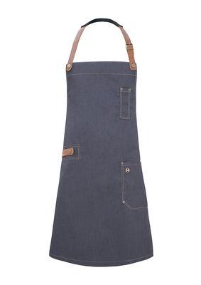 Latzschürze Jeans-Style mit Leder und Tasche 71 x 80 cm, vintage black