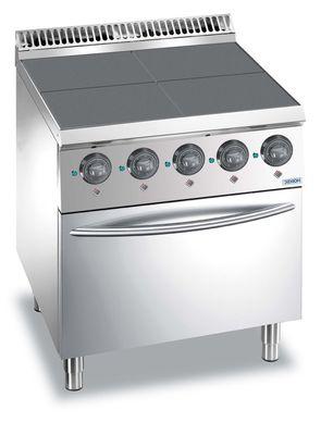 Cuisinière électrique Dexion Lux 700 - 70/70 avec four électrique à air pulsé - plaques de cuisson carrées abaissées