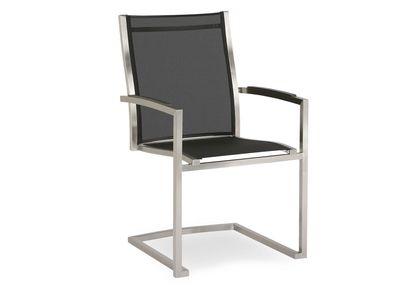 Chaise cantilever Marbella acier inoxydable/noir 2 pièces