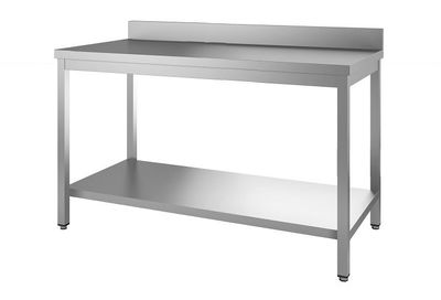 Edelstahl Arbeitstisch Eco 14x6 mit Grundboden und Aufkantung