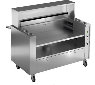 Mobile Kochstation für 3 Tischgeräte mit Aufsatzbrücke aus Glas und CNS