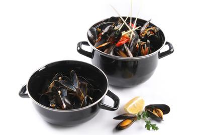 Pot à moules émaillé 3 litres