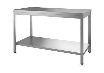 Edelstahl Arbeitstisch Eco 16x6 mit Grundboden