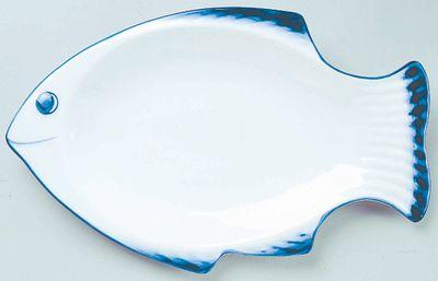 Assiette à poisson 36 cm - blanc/bleu