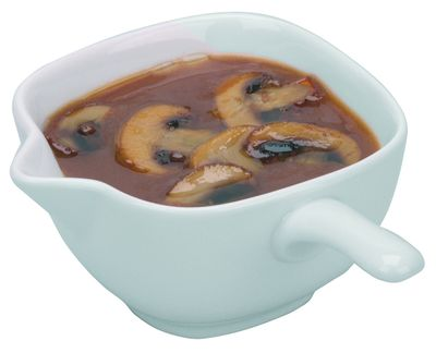 Porzellan-Saucenpfännchen mit Stielgriff
