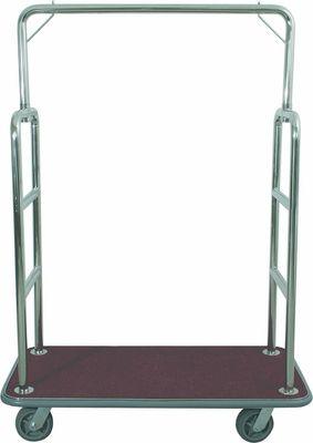 Chariot à bagages, hauteur 1,75m, cadre tubulaire en acier inoxydable, tapis rouge
