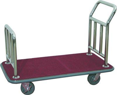 Chariot de transport de bagages, modèle plat, acier inoxydable tubulaire, tapis rouge