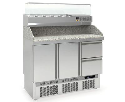 Pizzatisch PROFI 2/2 Mini mit Kühlaufsatz - Plus