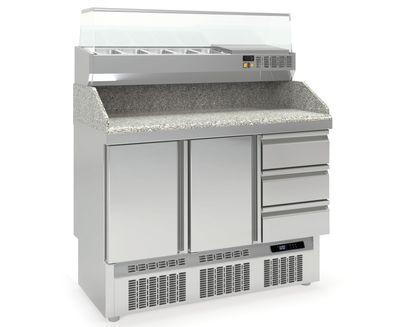 Pizzatisch PROFI 2/3 Mini mit Kühlaufsatz - Plus