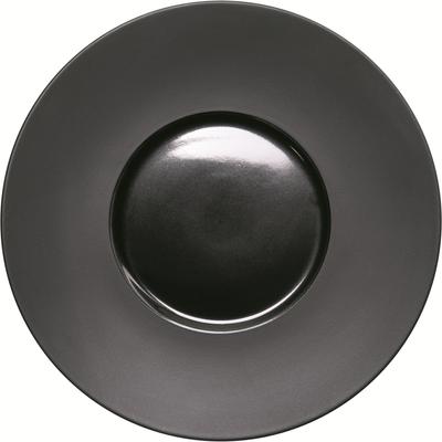 Assiette contrastée plate avec bord large Ø 260 mm, noir