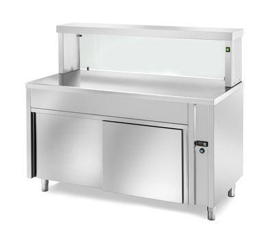 Table chauffante de distribution PROFI neutre avec portes coulissantes, plan de travail chauffé et structure en verre rectangulaire 1200x700x1300