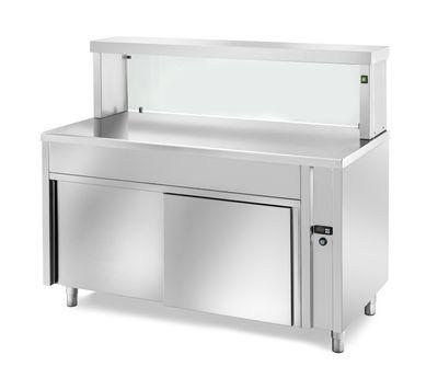 Table chauffante de distribution PROFI neutre avec portes coulissantes, plan de travail chauffé et structure en verre rectangulaire 1500x700x1300