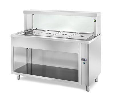 Table chauffante de distribution PROFI neutre ouverte avec structure en verre rectangulaire 1500x700x1300