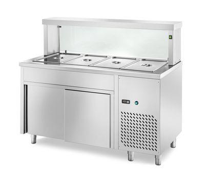 Table réfrigérée de distribution PROFI avec portes coulissantes et structure en verre rectangulaire 1500x700x1300