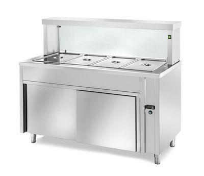 Table chauffante de distribution PROFI neutre avec portes coulissantes et structure en verre rectangulaire 1500x700x1300