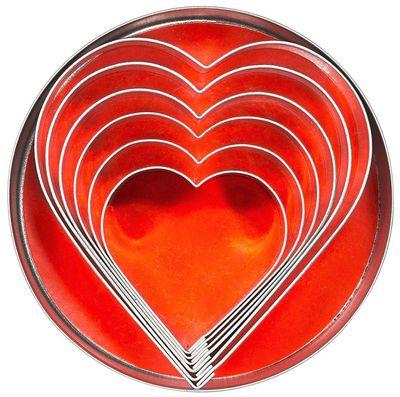 Lot d'emporte-pièces «'cœur», longueur 45 - 93mm, hauteur 30mm - 6 pièces