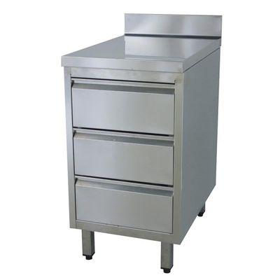Armoire à tiroirs en inox ECO 3 unités 700 avec dosseret