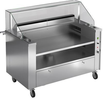 Mobile Kochstation für 3 Tischgeräte mit Aufsatzbrücke aus Glas